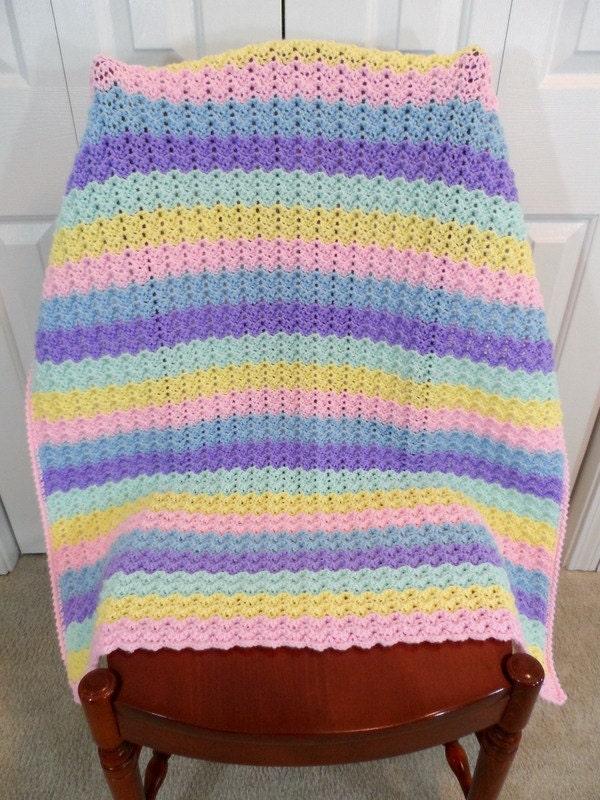Crochet Rainbow Baby Blanket Pattern By Flavia : Crochet Baby Blanket Child Afghan Rainbow Colors Petite by ...