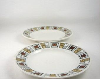 Vintage Broadhurst Kathie Winkler Rushstone Pattern Dessert Plates Ironstone England 1960s