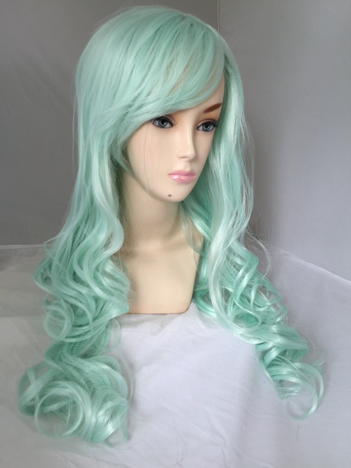 Light Mint Green / Long Curly Layered Wig Mermaid Hair by ... |Mint Hair Wig