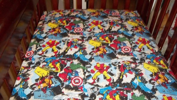 marvel-comics-avengers crib or toddler bed sheets