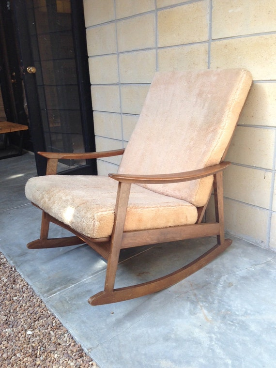 mid century danish modern style rocking chair with cushions