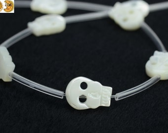 10 pcs of MOP,mother of pearl carved skull beads 8x11mm