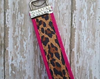 Cheetah Leopard hot pink bling fob wristlet keychain