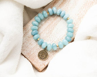 Gemini Astrology Bracelet, Aquamarine Gemstone Bracelet, Zodiac Bracelet