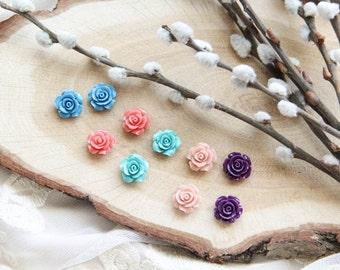 Flower Studs Earrings, Spring Rose Earrings
