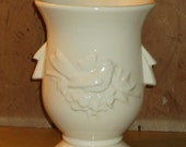 McCoy Vase White Cardinal Bird and Berries Edwardian Style with handles Ceramic Pottery