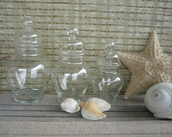 Set of 3 Vintage Apothecary Jars, Glass Display Jars, Cottage Decor, Shabby Chic