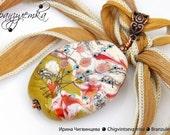 Jazz Pendant - lampwork bead khaki olive green ivory murrini flowers - silk cord  and copper
