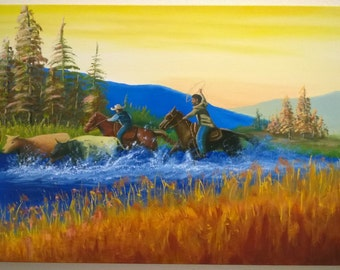 Cowboys and Cattle Crossing River - Oil on Stretched Gallery Canvas - 30 x 18 x 1.5 inches