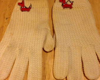 Off-White Stretch Gloves with Scottie Dogs