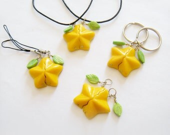 Kingdom Hearts: Paopu Fruit  -pearlized/glow in the dark- significant other/couple keychain,necklace or cell phone strap set