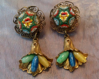Micro Mosaic Earrings Czech Glass 1930 Dangle Renaissance Wedding