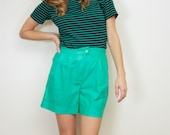 Vintage Louise Pleated Kelly Green High Waisted Shorts