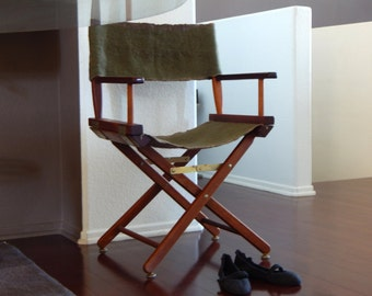 Vintage director chair with new wool seat & back, Slow design. momoish made.
