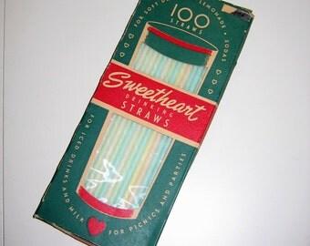 Vintage Sweetheart Drinking Straws, 1950s