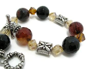 Agate Bracelet unique handmade jewelry gemstone beaded bracelet crystal jewelry gift for her Birthday gift Halloween gift toggle bracelets