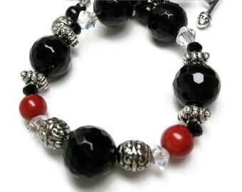Black Onyx Bracelet beaded statement bracelet stone beadwork coral swarovski crystal semiprecious gemstone bracelet gift for her