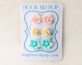 Pastel Resin Flower Earring Set. Pink Lotus Flower Earring, Peach Rose Stud Earrings, Mint Lily Earrings. Hypoallergenic Earrings Stud Set.
