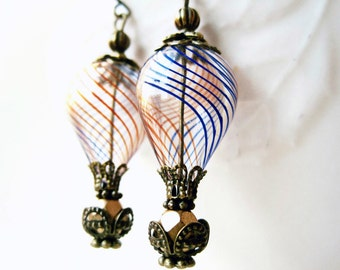 Hot Air Balloon Earrings, Red White and Blue, Patriotic Earrings, Hand Blown Glass Earrings, Striped Glass Beads, Americana Jewelry