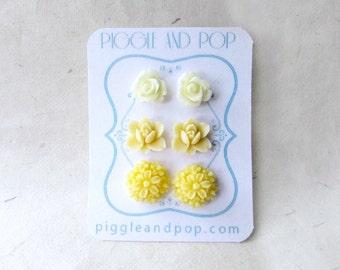 Yellow Flower Earrings Set. Ivory Rose Earrings, Lotus Buttercream Flowers. Lemon Daisy Earrings. Small Resin Cabochon Flower Stud Earrings