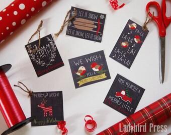 Printable Christmas Tags - Chalkboard Christmas Tags - Woodland Gift Tags - Instant Download - CC