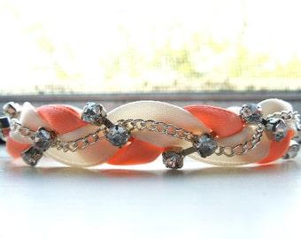 Ivory and Durazno Braided Ribbon & Chain Bracelet