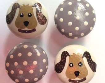 4 x Gorgeous Hand-painted & Decoupage Polka Dot Puppy Dog Pine Drawer Knobs
