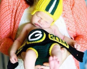 Newborn Baby Green Bay Packers Inspired Set - Aaron Rodgers Inspired Championship Title Belt 3 piece set Helmet - Diaper Cover