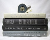 Book Stack Home Decor ~ Cream Grey Black 4 Hard Copy Books ~ Silver Gilt Lettering ~ Sleek Style Prop ~ Instant Collection Decorative Books