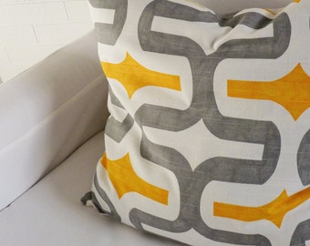 "17x17"" Grey/Yellow/White Modern Pillow Cover"