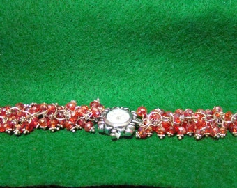 300C,Crystal Beads Silver Bracelet with Quarzt Watch, Beaded Watch Bracelet