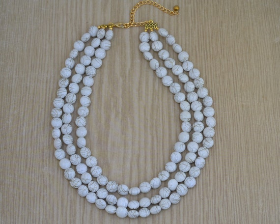 LAST ONE - Multistrand White Bead Necklace - White and Gold Necklace - Chunky White Statement Necklace - Triple Layer White Beaded Necklace