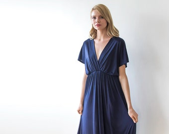 Navy blue formal maxi dress, Blue long dress bat-wings sleeves 1002