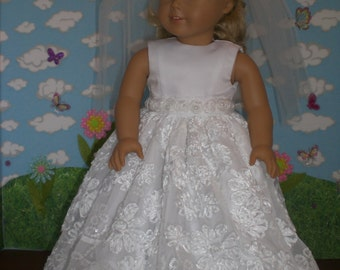 First Communion/Wedding Dress  available in 2 lengths For 18 inch Dolls