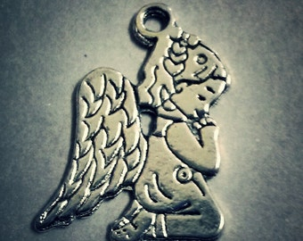 Praying Angel Charms Child Angel Charms Antiqued Silver 5 pieces Baby Angel