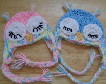 CUSTOM MADE - Adorable Sleeping Owl Earflap Hat - Newborn - 12 months