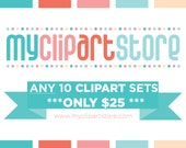 50% OFF - Pick ANY 10 Clipart Sets for just 25 Dollars - Digital Clipart - Instant Download