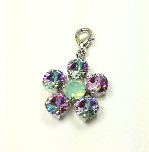 Swarovski Crystal  Add- On Flower Pendant - Chrysolite Opal & Vitrail Light  -  FREE SHIPPING