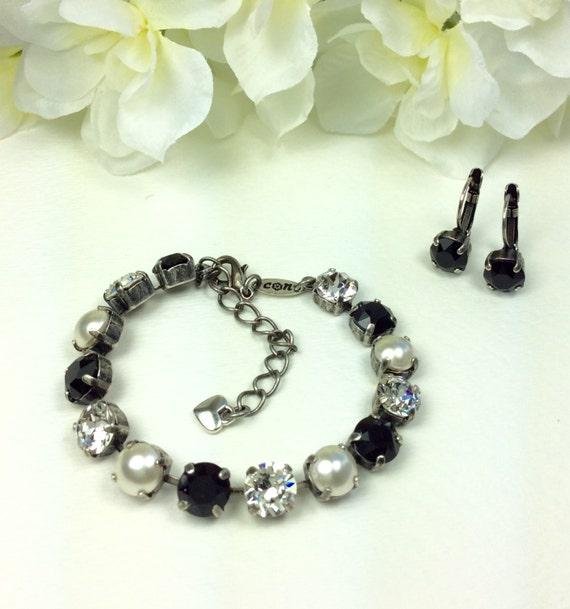 """Swarovski Crystal 8.5mm Bracelet & Earrings -  """" Black and White Wedding """"  Designer Inspired -  FREE SHIPPING"""
