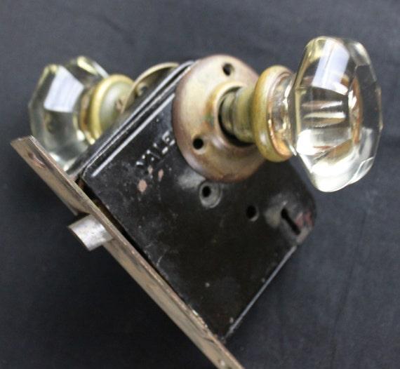 Antique 1920s yale glass brass door knob lockset eight for 1920s door handles