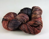 Hand Dyed Yarn Superwash Wool Bamboo Red Orange Dark Brown 2434