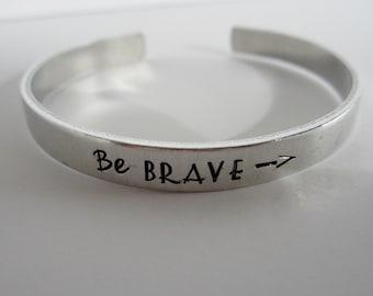 Be BRAVE - Hand Stamped Bracelet - Inspirational - Arrow Bracelet - Motivational - Graduation Gift - kg3