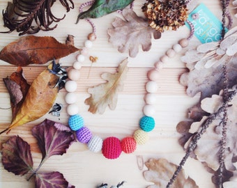 Fall earthy rainbow nursing babywearing necklace - teething necklace for breastfeeding mom gift under 25