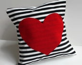 red heart pillow cover // black and white stripe pillow // heart shaped pillow // black striped pillow cover // 12 inch cushion cover