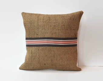 burlap pillow cover // rustic accent pillow // twelve inch pillow // 12X12 pillow // ribbon pillow // rustic home decor // pink and brown