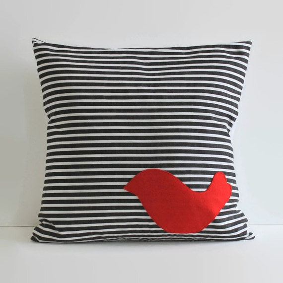 Red Bird Throw Pillow : red bird throw pillow // applique bird pillow cover by 645workshop