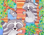 "racoon family tree 5"" x 7"" Print"