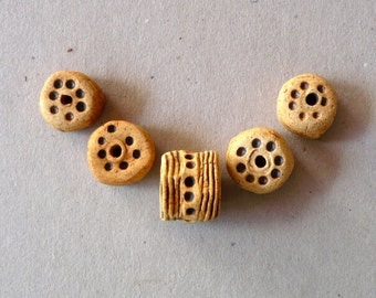 Clay Bead Set,  Tribal Beads,  Rustic  Beads , Jewelry Supplies