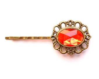 Ruby Red Cameo Rhinestone Hairpin, Vintage Style Jewelled Hair Clip, Jewel Bobby Pin, Bridesmaid Gift, Estate Style Grip, Hollywood Glamour