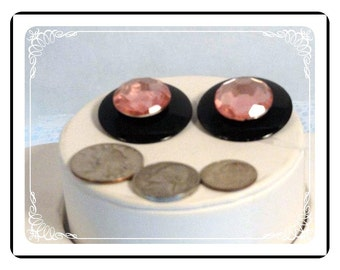 Pink & Black Earrings - Plastic Round Clip-on Earrings   E2259a-080712000